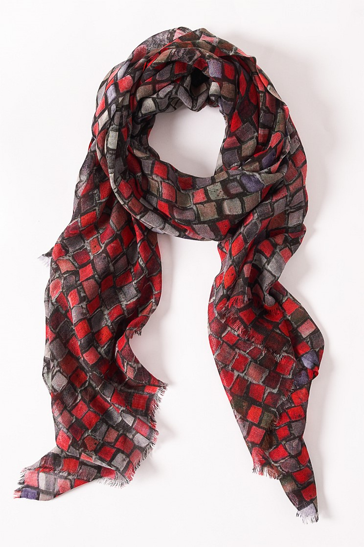 Red Squares Scarf
