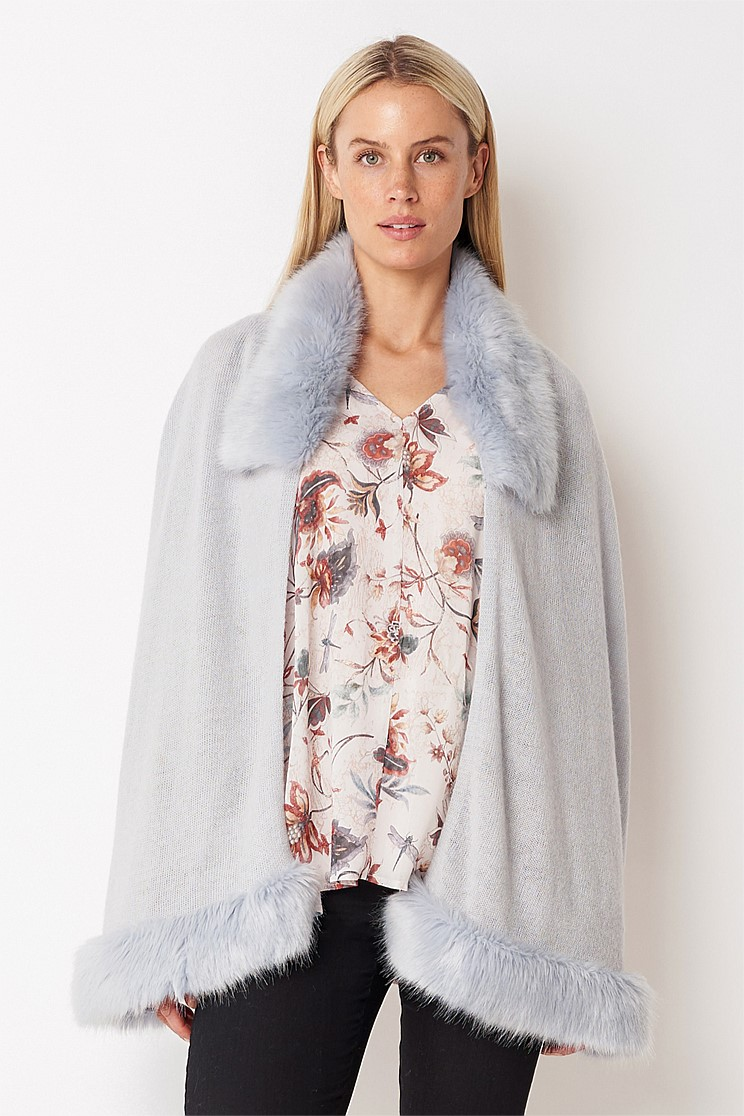 Faux Fur Wool Wrap