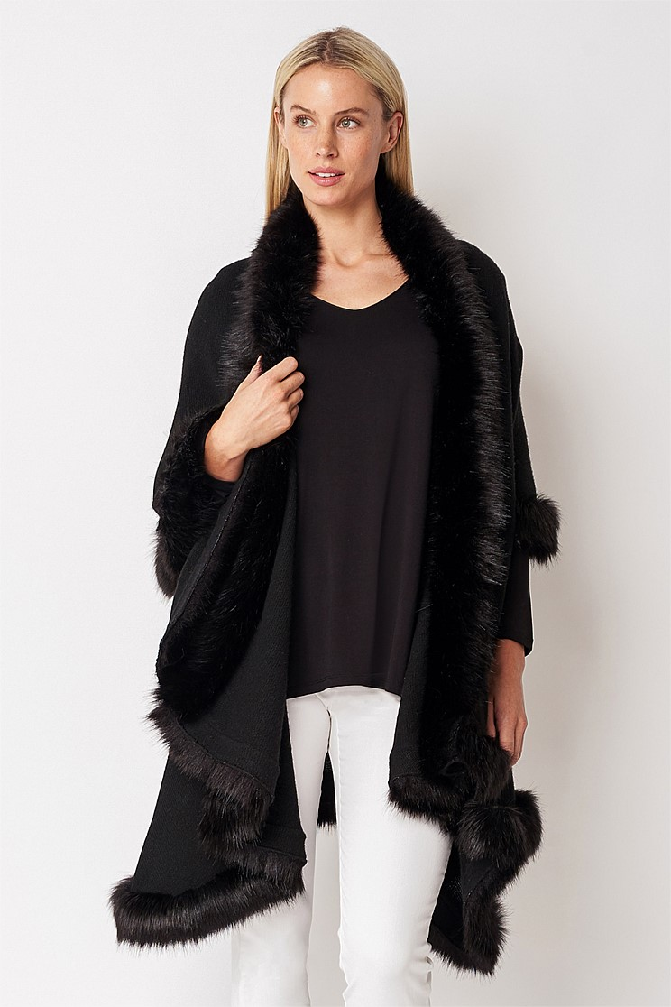 Faux Fur Layered Wrap