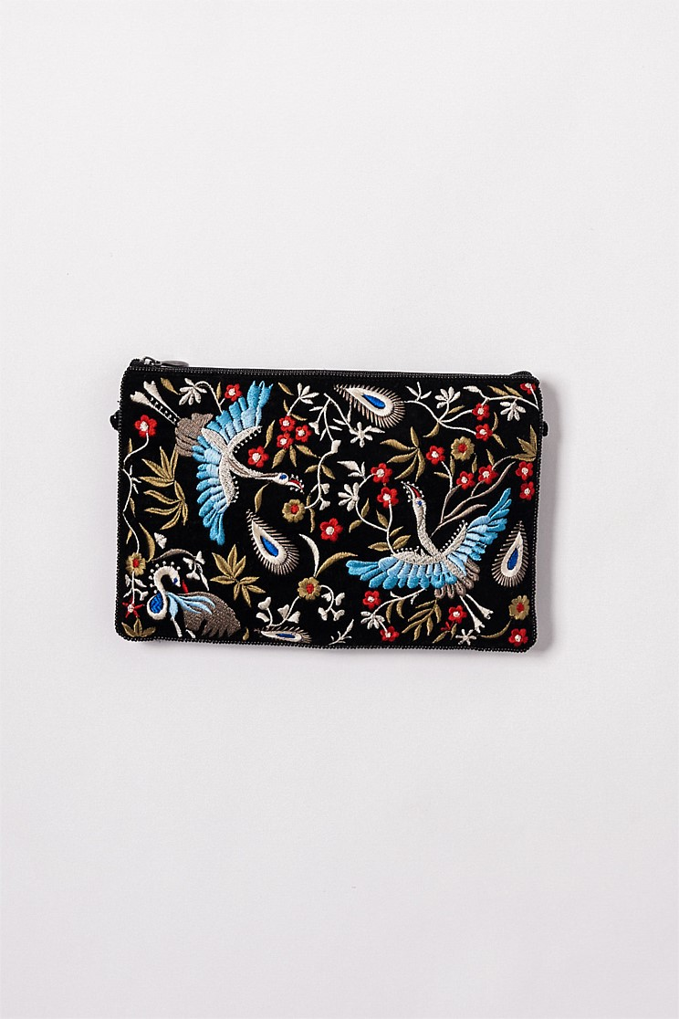 Embroidered Birds Clutch