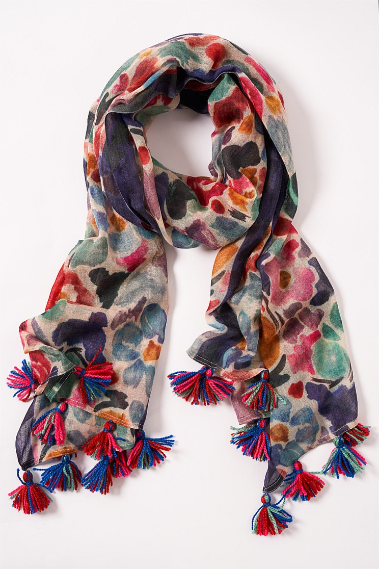 Whimsical Multi Floral Scarf