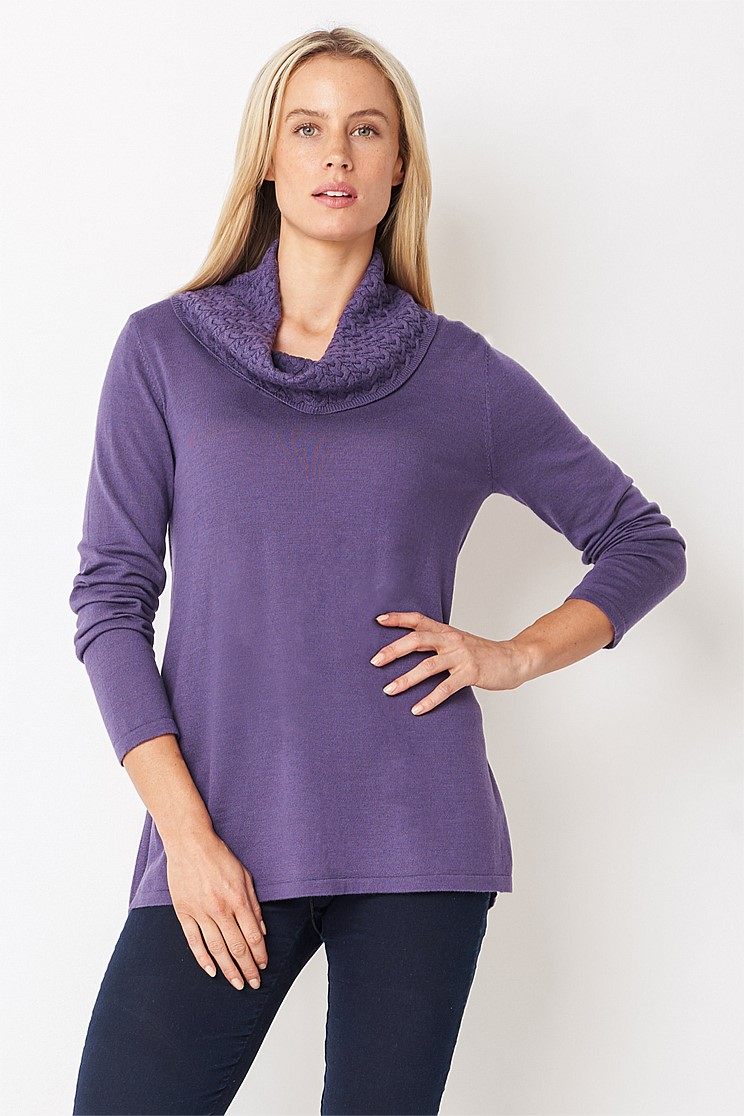Cable Cowl Neck Knit