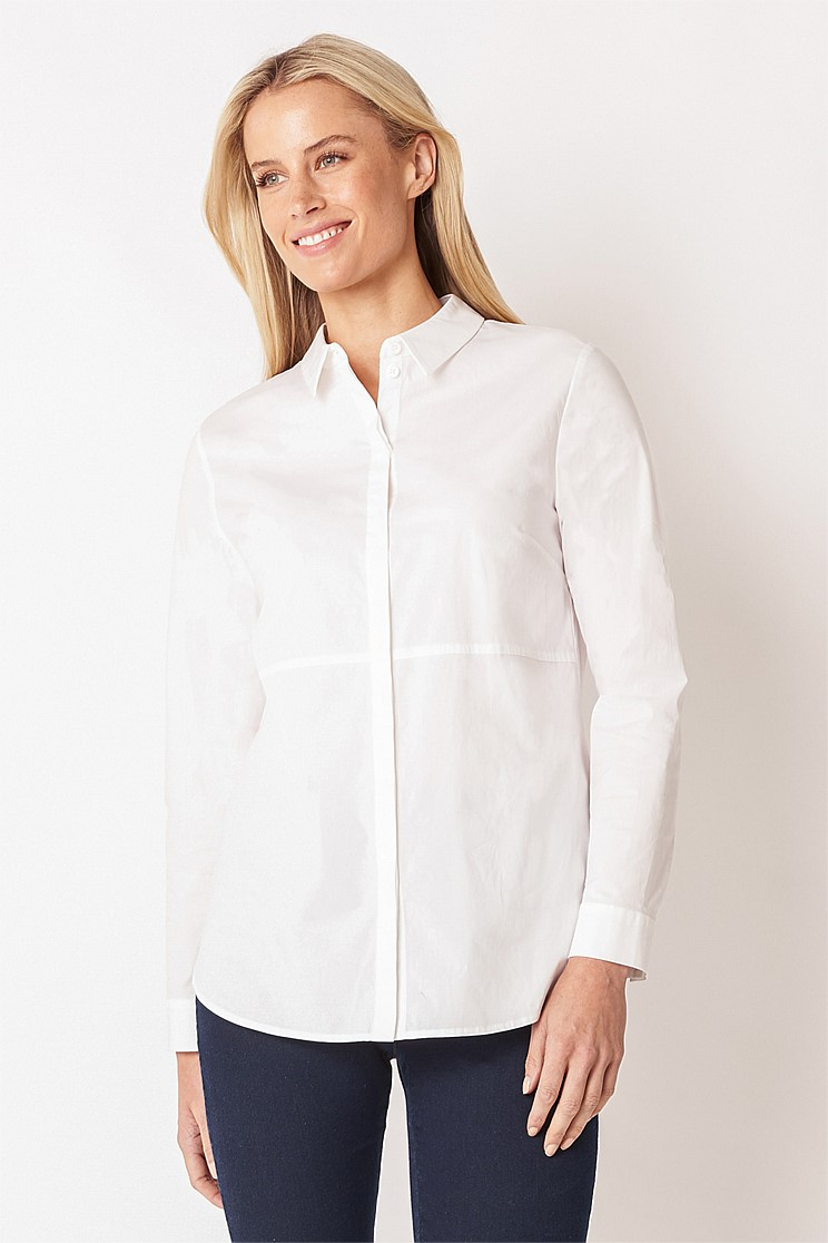 Seamed Stretch Cotton Shirt