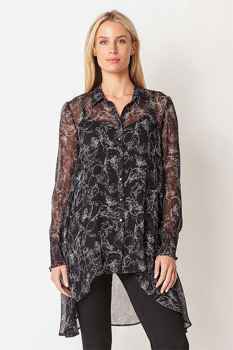 Printed Silk Tunic Shirt