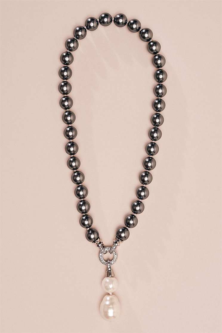 Grey Bead with Pendant Necklace