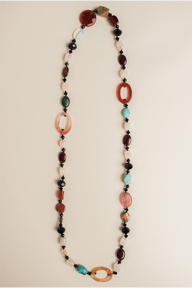 Multi Stones Cutout Necklace