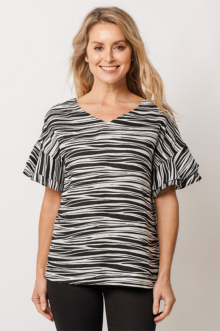 Zebra Printed Linen Top
