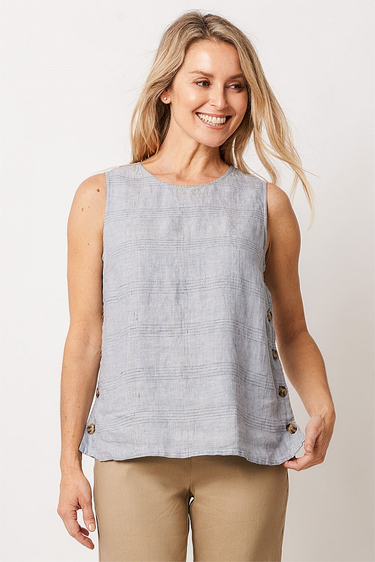 Linen Button Detail Tank