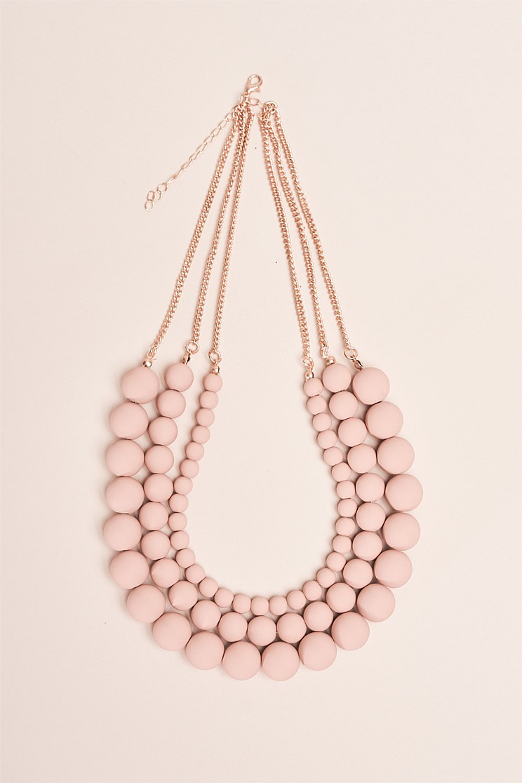 Three Row Dusty Pink Stone Necklace