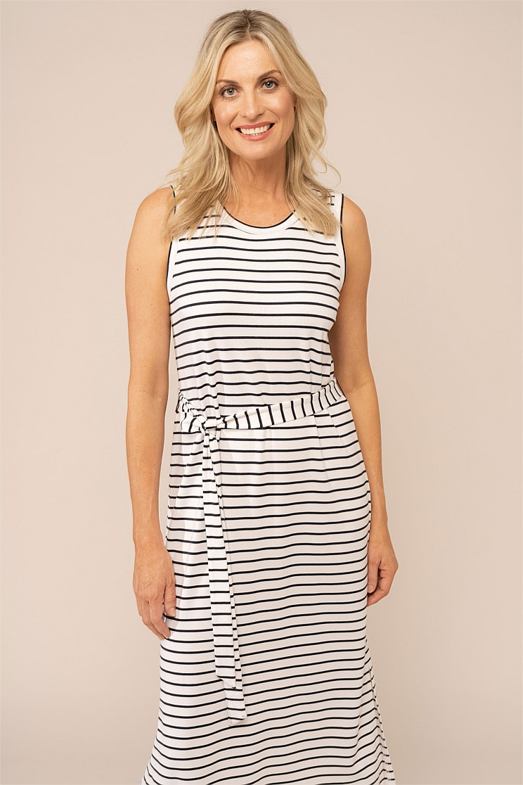 Stripe Jersey Midi Dress