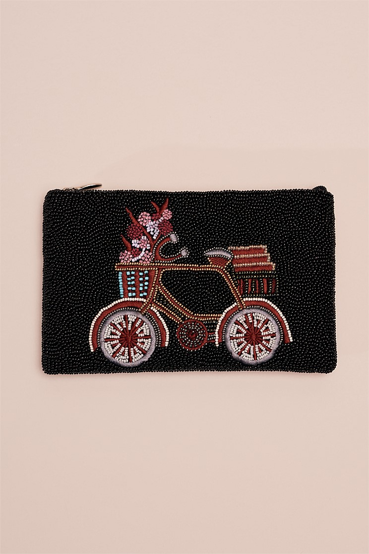 Beaded Bicycle Cosmetic Bag