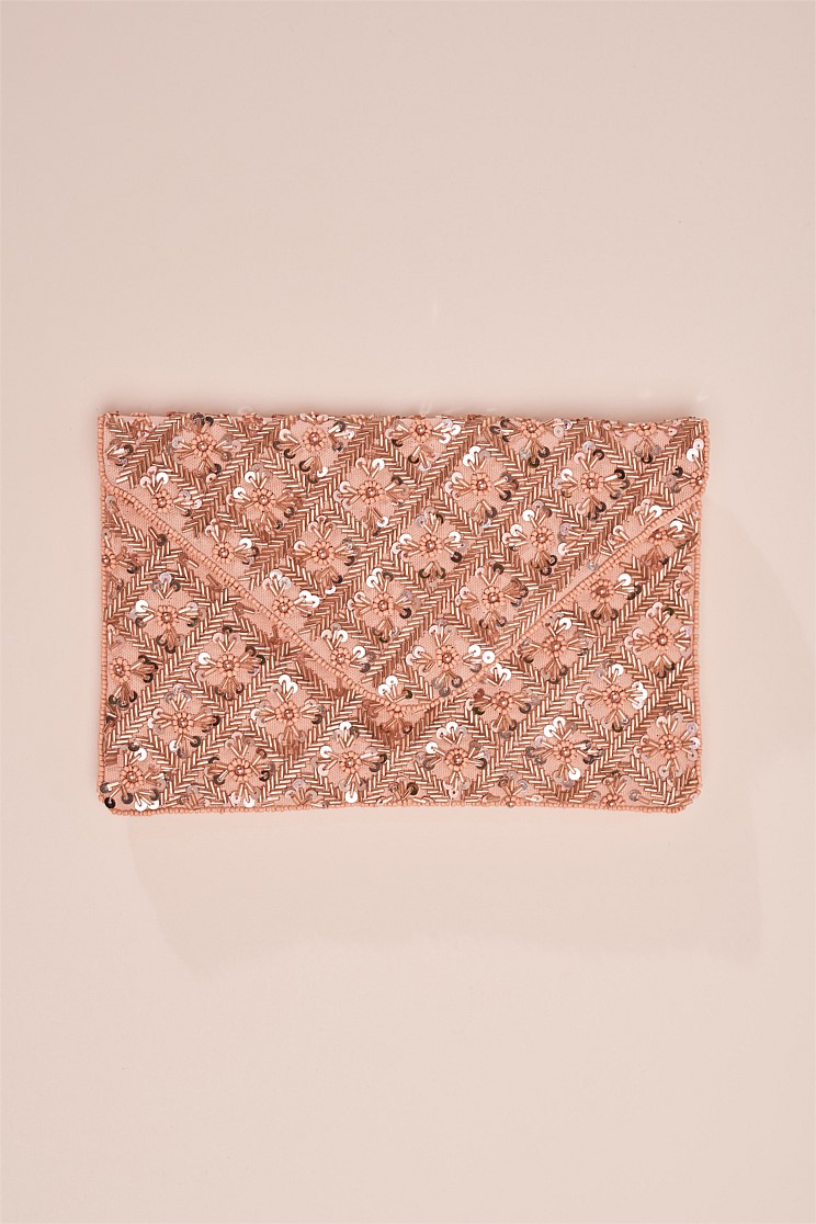 Sienna Nude Beaded Clutch