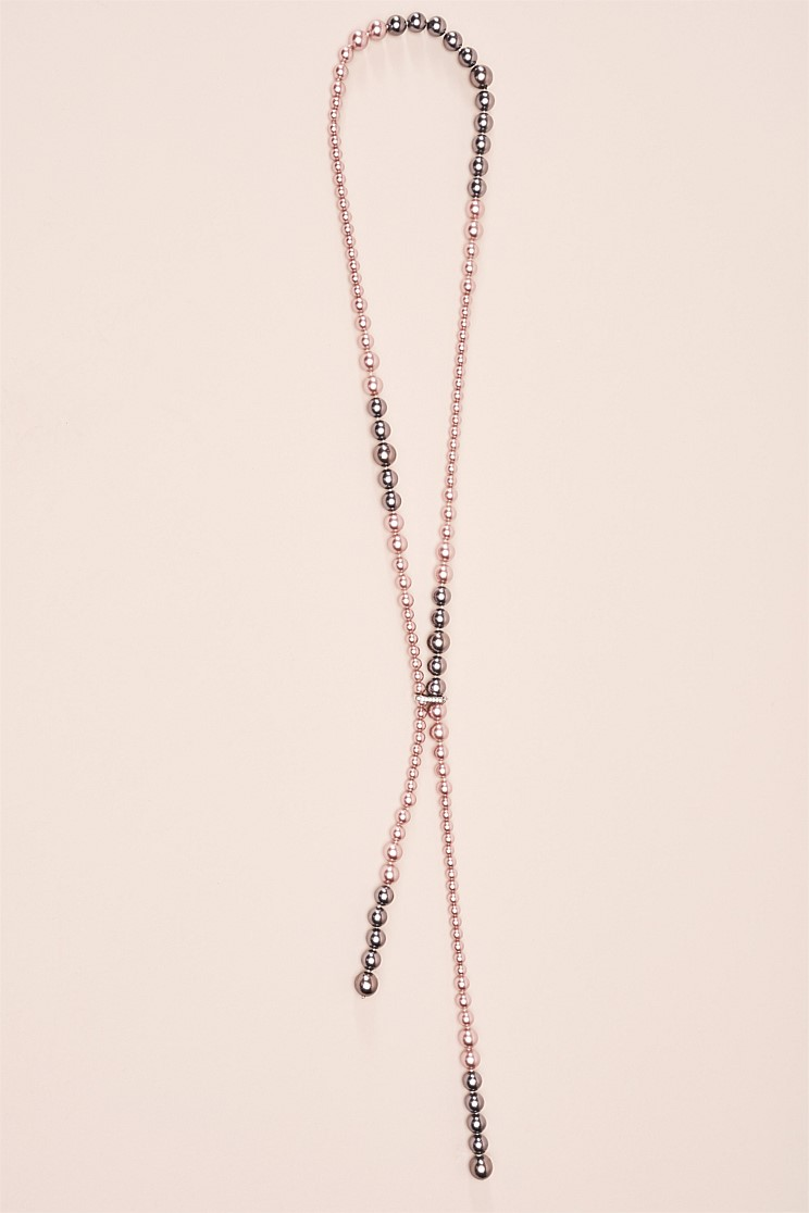 Pink and Grey Pearl Lariat