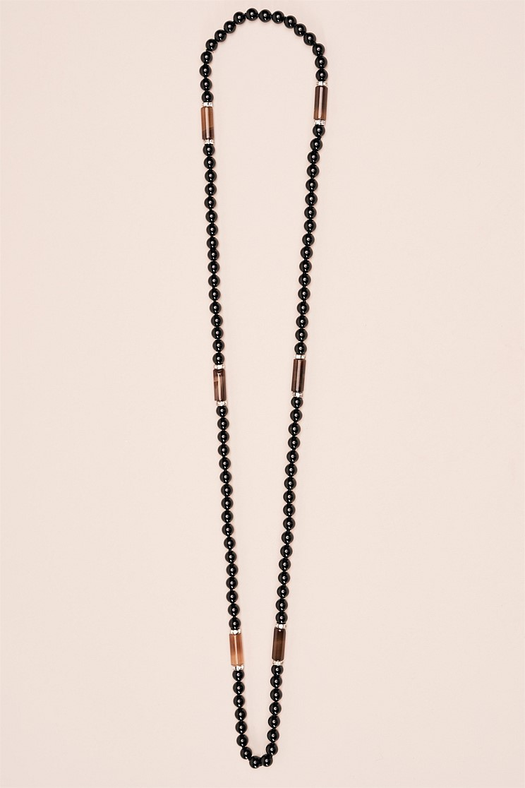 Black Bead and Barrel Necklace