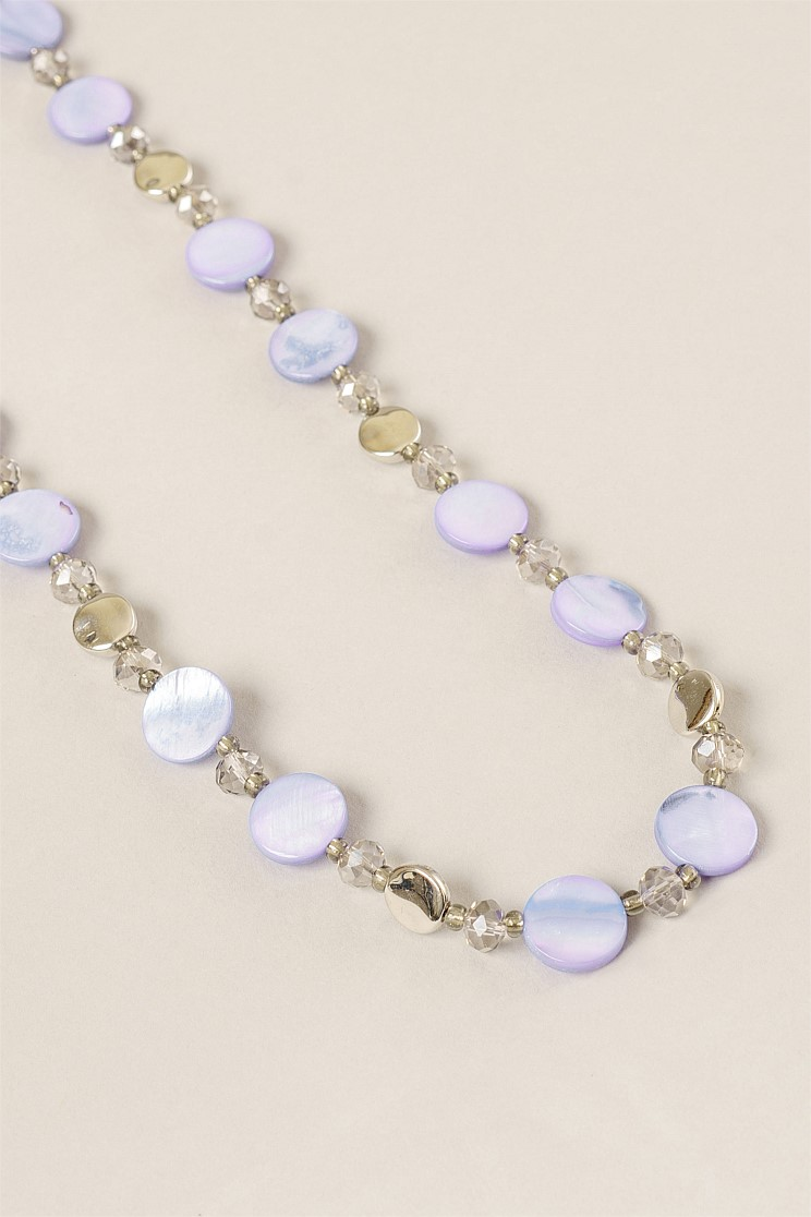 Lilac Mini Shell and Disc Rope Necklace