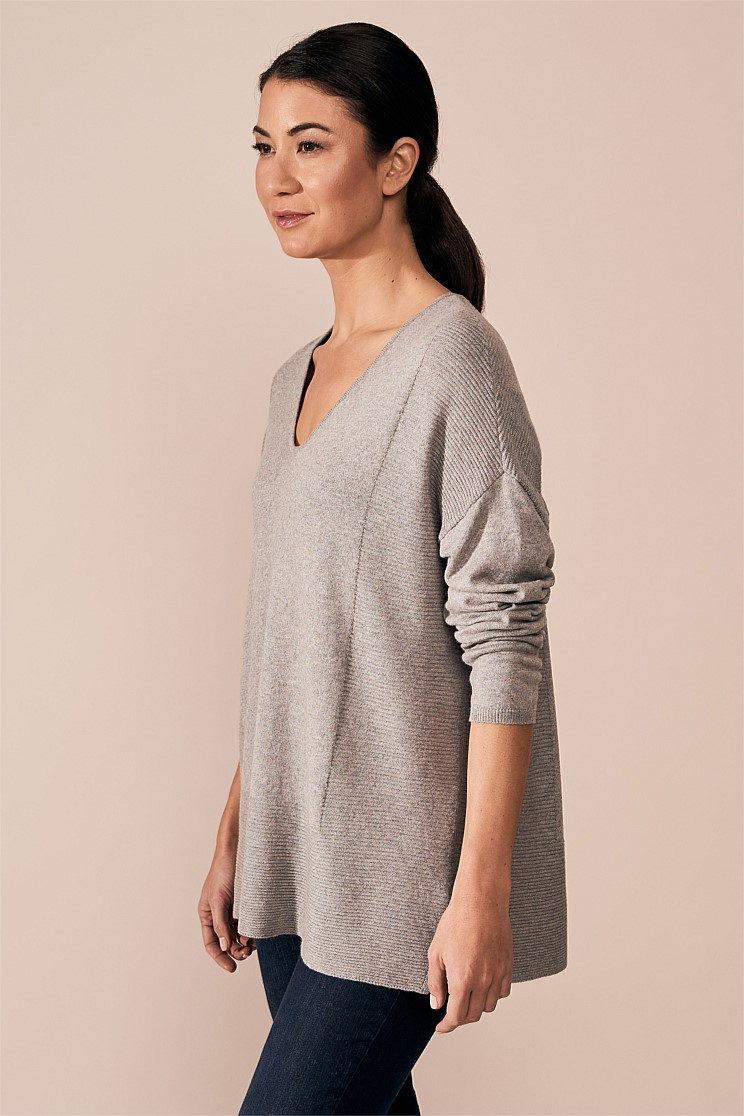 Stitch Detail V-Neck Knit