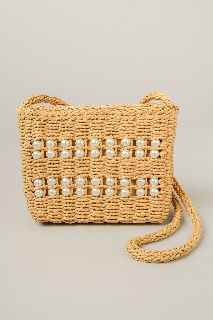 Pearls of Summer Straw Bag