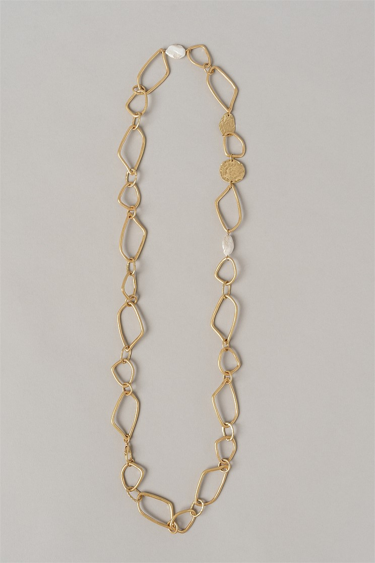 Hammered Pearl and Chain Necklace
