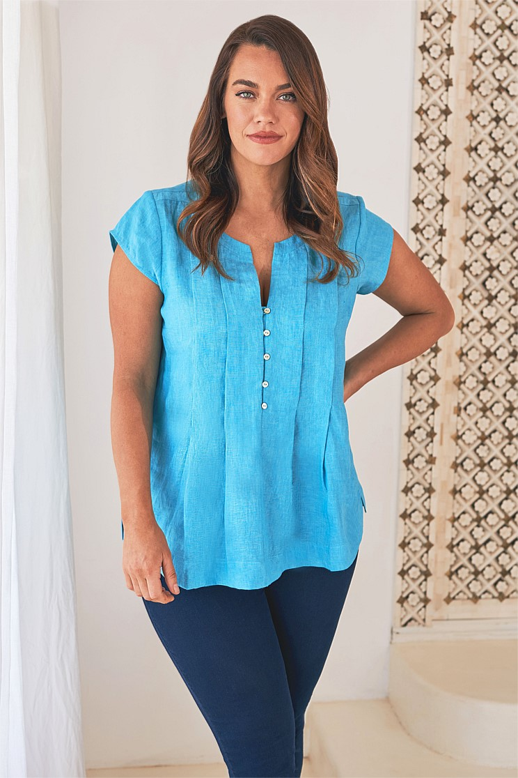Pleated Linen Top