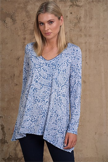 Long Sleeve Trapeze V-Neck Top