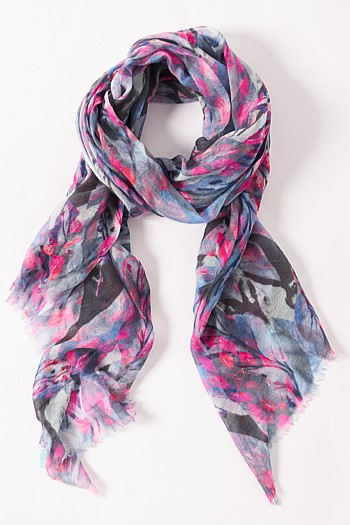 Blue / Pink Leaves Scarf