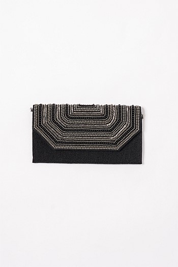 Black/Silver Beaded Clutch