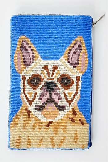 Bulldog Beaded Cosmetic Bag