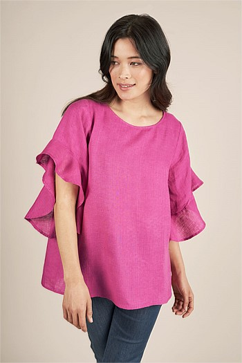 Ruffle Sleeve Linen Top