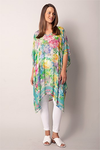 Painted Flower Print Kaftan