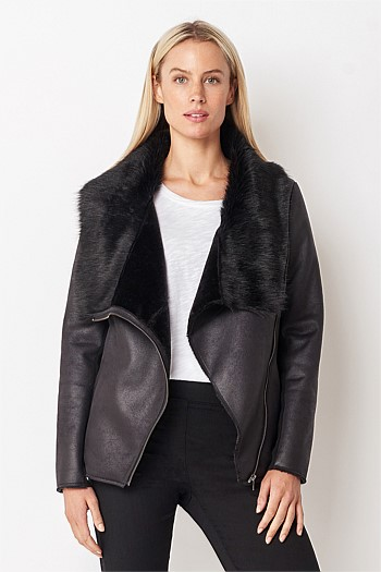 Faux Fur Trim Shearling Jacket