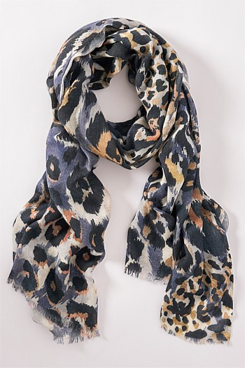 Blue/Gold Leopard Scarf