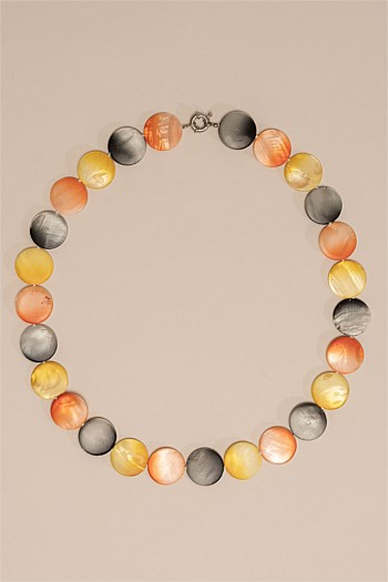 Multi Flat Stone Shell Necklace
