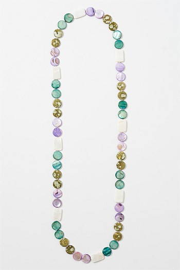Multi Flat Stone Purple Necklace
