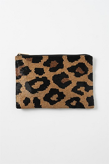 Gold Animal Beaded Cosmetic Bag