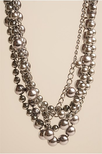 Silver Beaded Statement Necklace