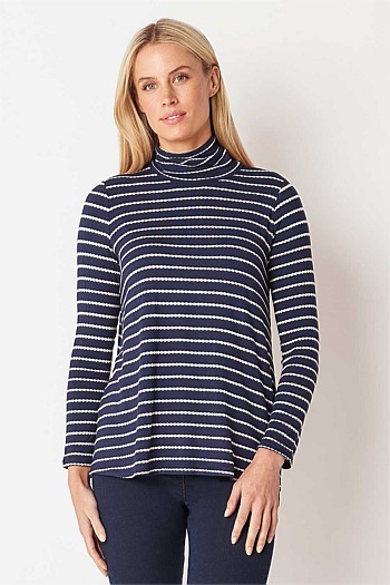 Stripe Jersey Roll Neck Top