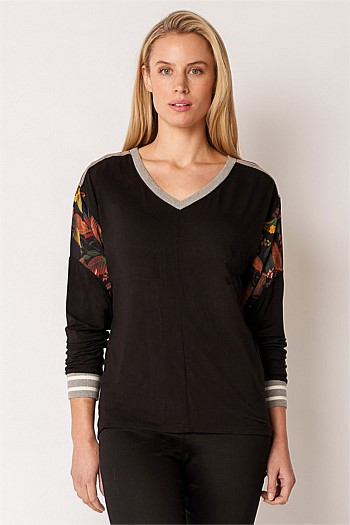 Spliced Long Sleeve Top