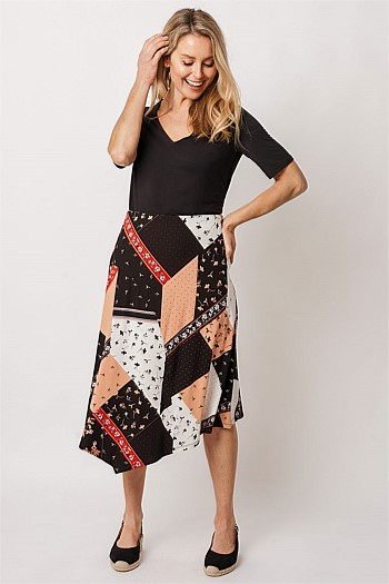 Patchwork Printed Jersey Skirt
