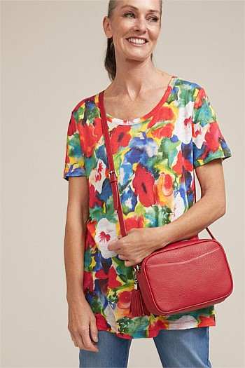 Tropical Print Slub Tee