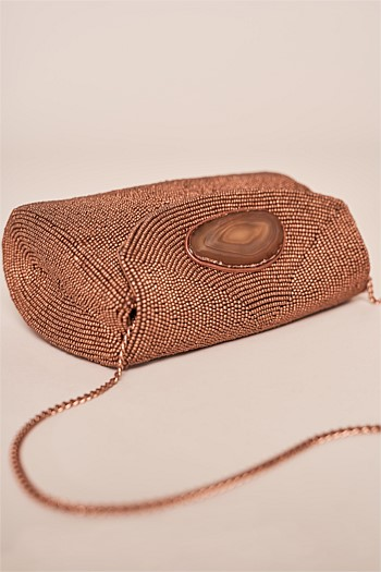 Agate Stone Bronze Mini Clutch