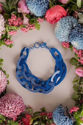 Iris Two Row Glitter Collar Necklace