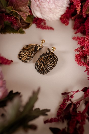 Iris Leaf Shaped Drop Earrings