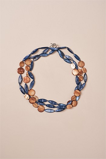 Blue Orange Mix Shell Three Row Collar