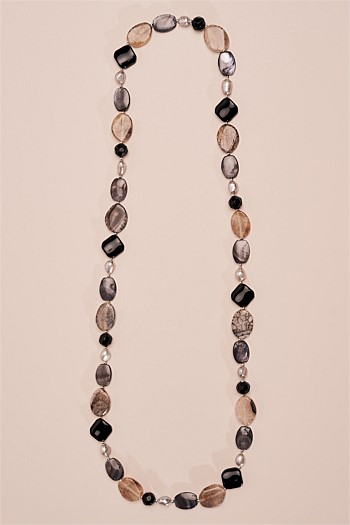Pearl and Black Glass Bead Necklace