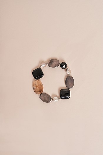 Pearl and Black Glass Stretch Bracelet