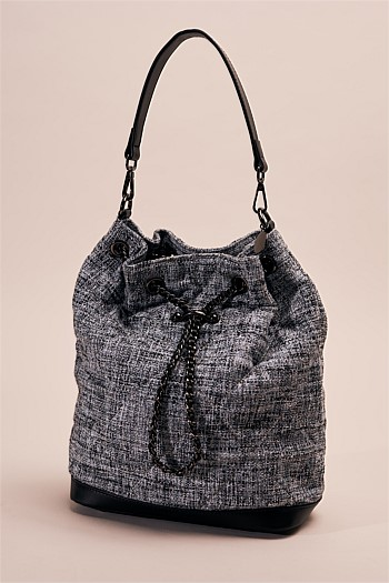 Lorena Tweed Bucket Bag