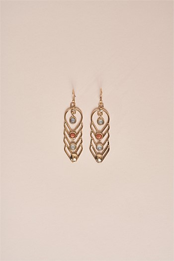 Chevron Semi Precious Drop Earrings