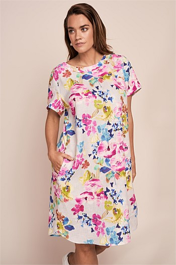 Printed French Linen Dress
