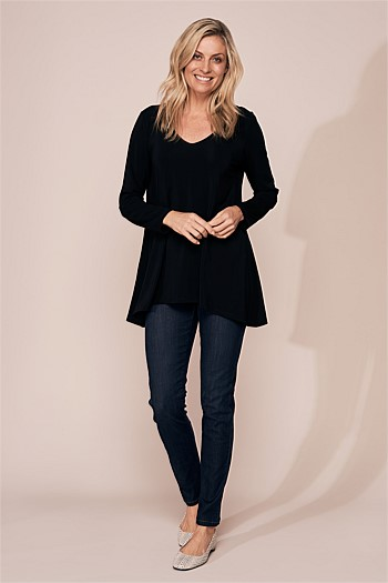 Long Sleeve Basic Trapeze Top