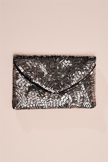 Metallic Paved Bead Clutch
